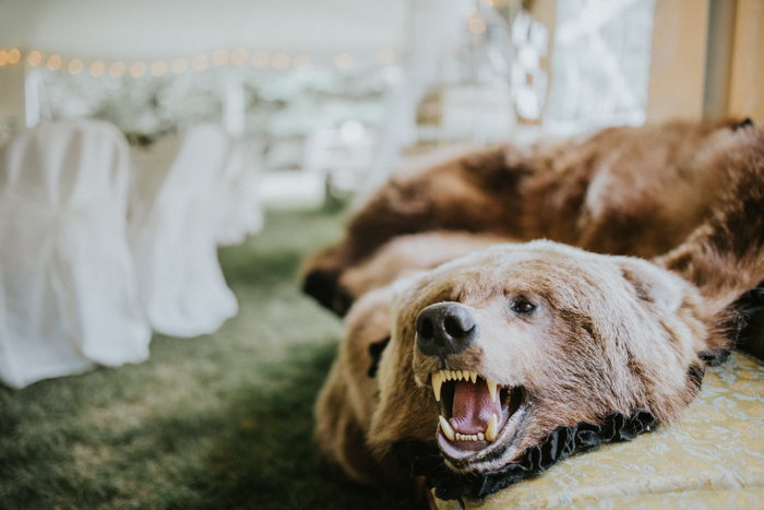 bear rug at wedding
