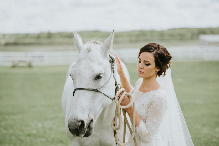 calgary bride wearing white dress with white horse