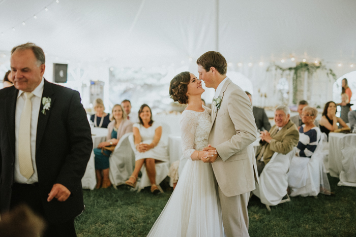 bride and grooms first dance in calgary backyard wedding