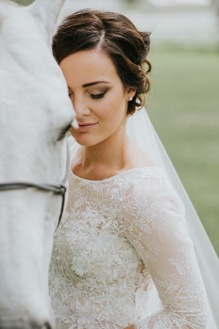calgary bride portrait with horse