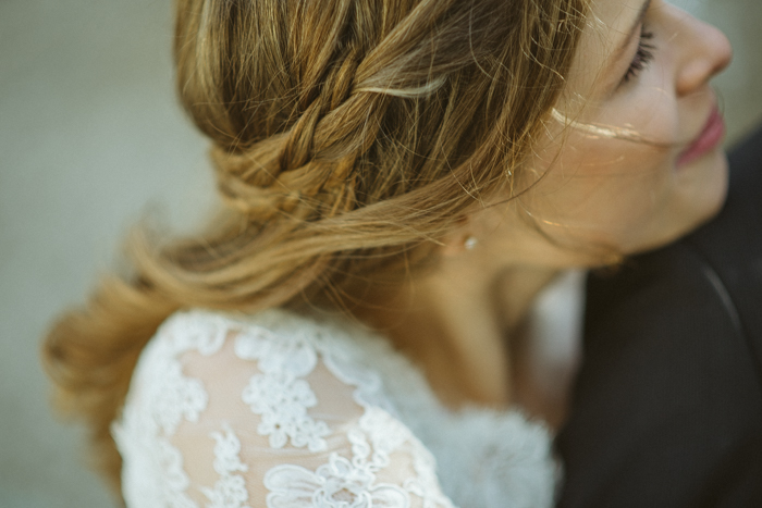 braid in brides hair