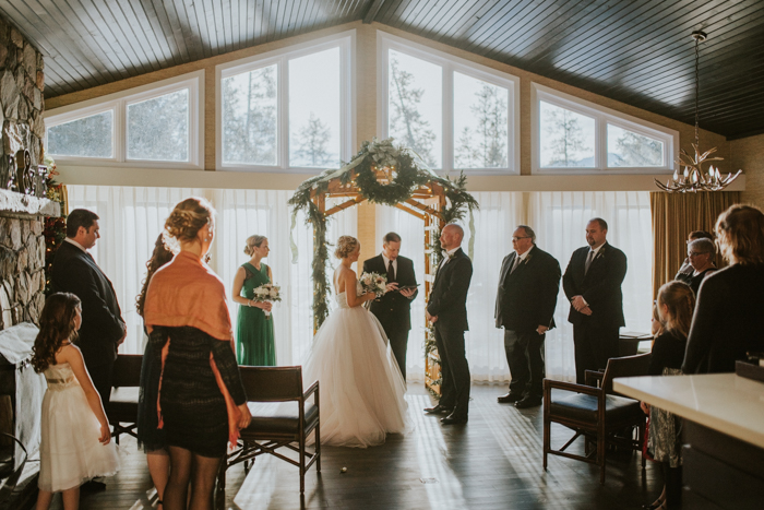 Fairmont Jasper Winter Wedding. Indoor Ceremony.
