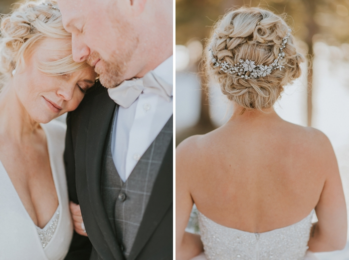 Fairmont Jasper Winter Wedding. Dress and Hair ideas for winter wedding.