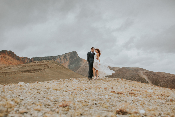 Helicopter Elopement Wedding Banff. Mountain Top Wedding. Mountain top Wedding Photographers.