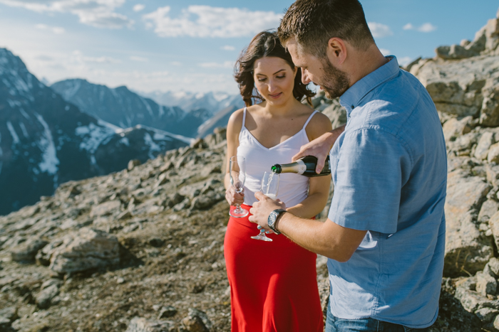 Mountain Top proposal and champagne