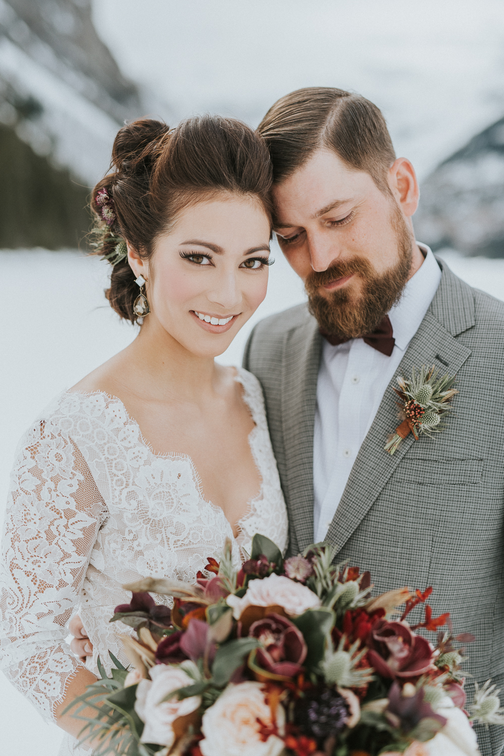 Bride and Groom at Lake Louise