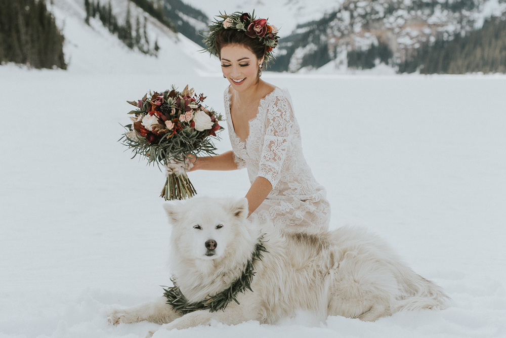 Lake Louise Winter Wedding with wolf