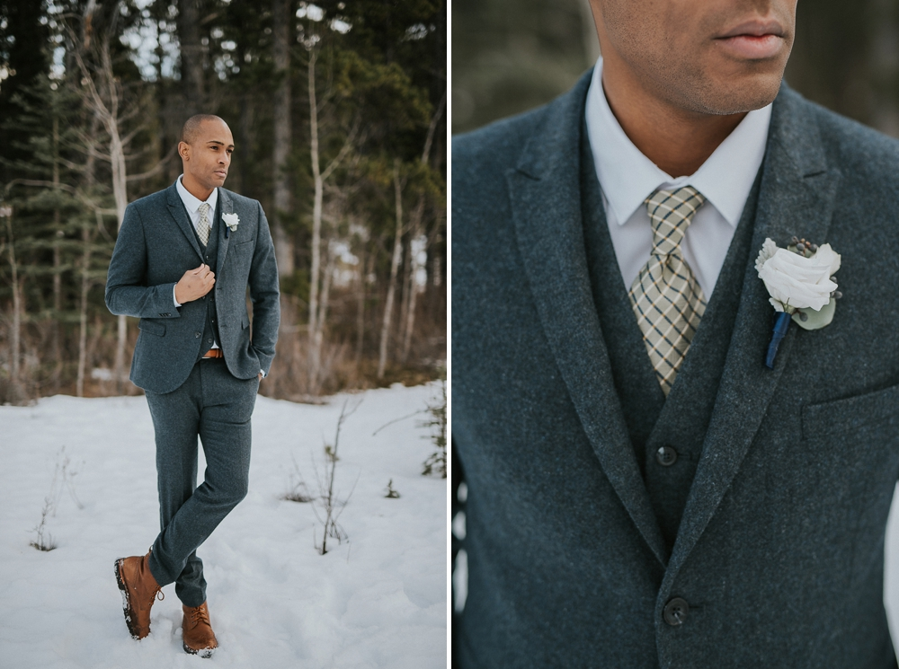 Winter Wedding Grooms Wool Suit
