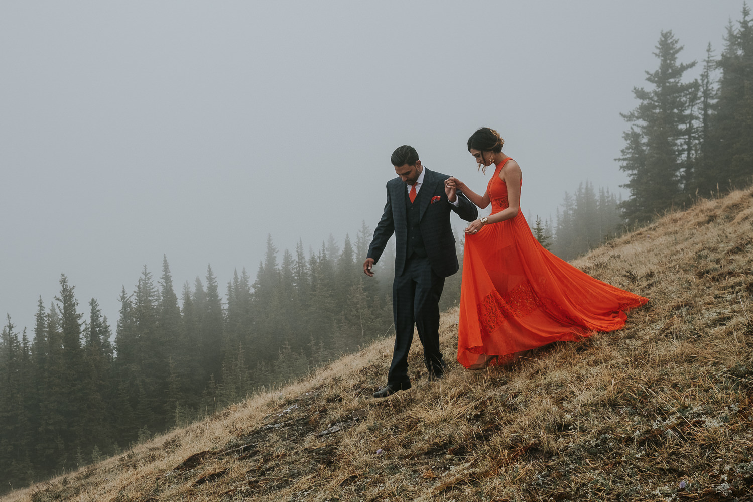 Banff Wedding Photographers Helicopter Engagement Session-21