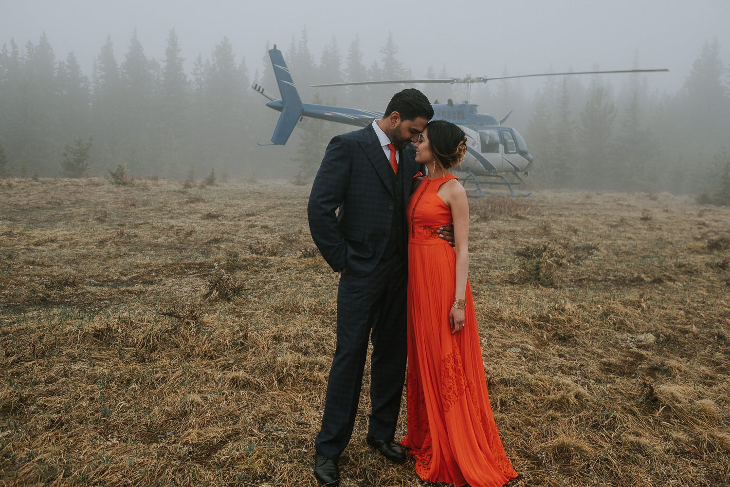 Banff Wedding Photographers Helicopter Engagement Session-32