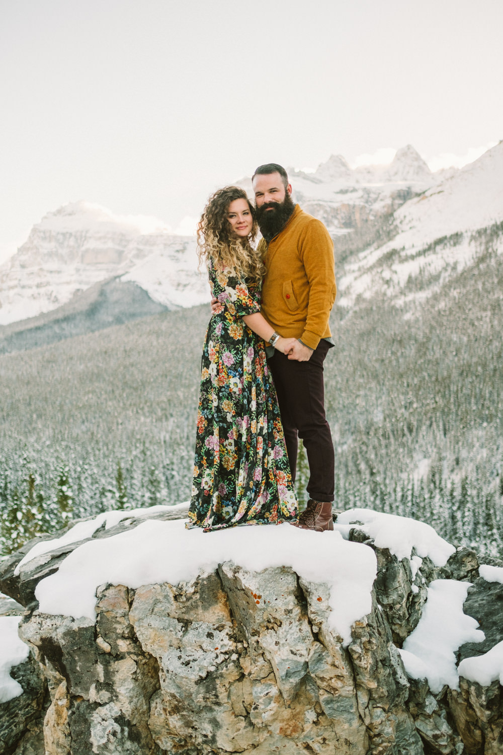 Mountain Top Engagement Session in Winter