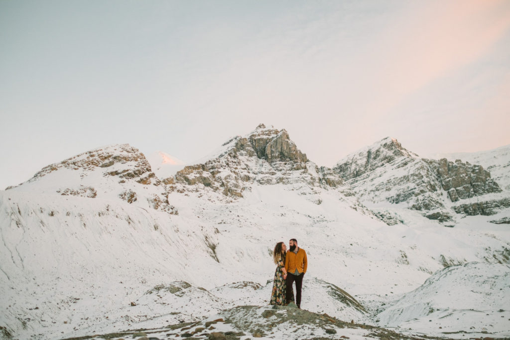 Columbia Icefields Engagement session with snow