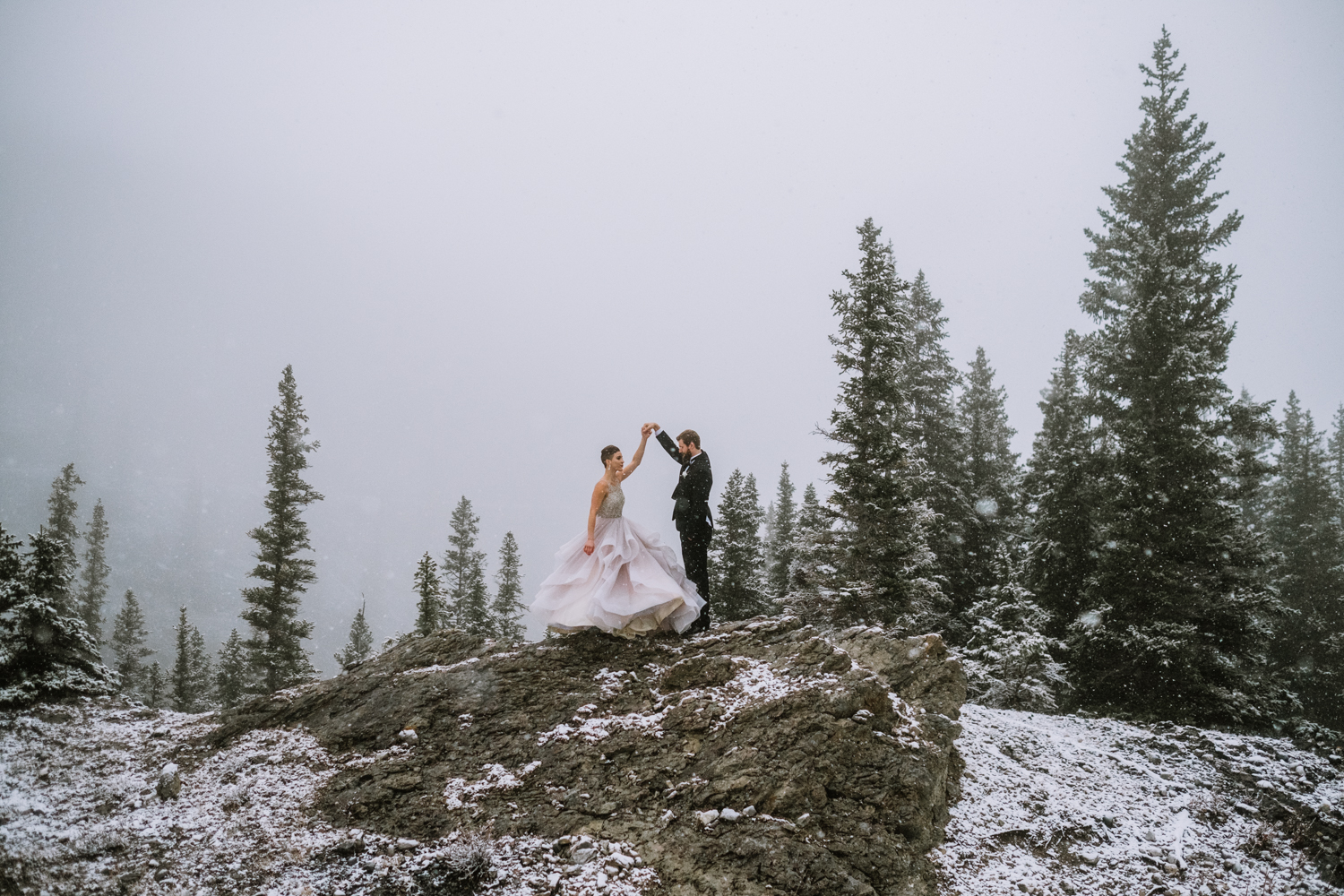 Mountain Wedding in the winter banff