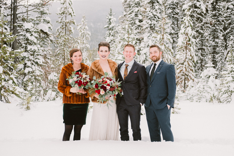 Winter Wedding Party Photos in Snow