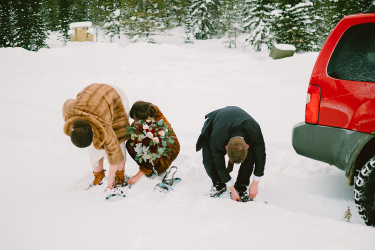 Winter wedding with snowshoes