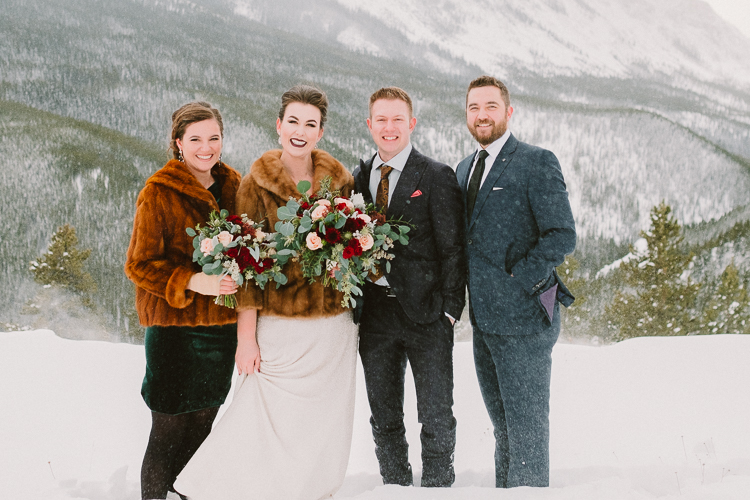 Wedding Party pictures in the snow