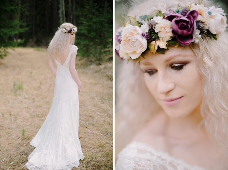 Canmore bride in forrest with flower crown