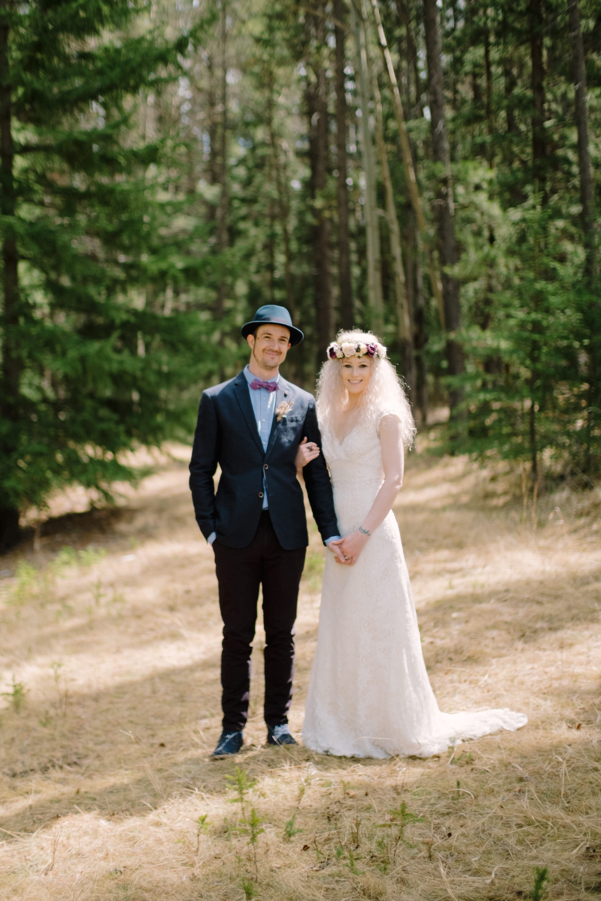 Bride and groom with style canmore wedding
