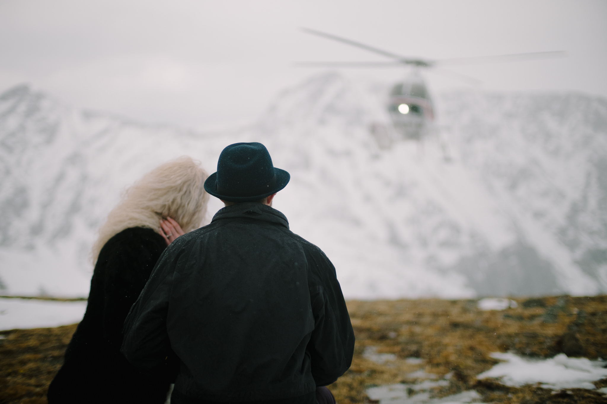 Winter Helicopter Wedding