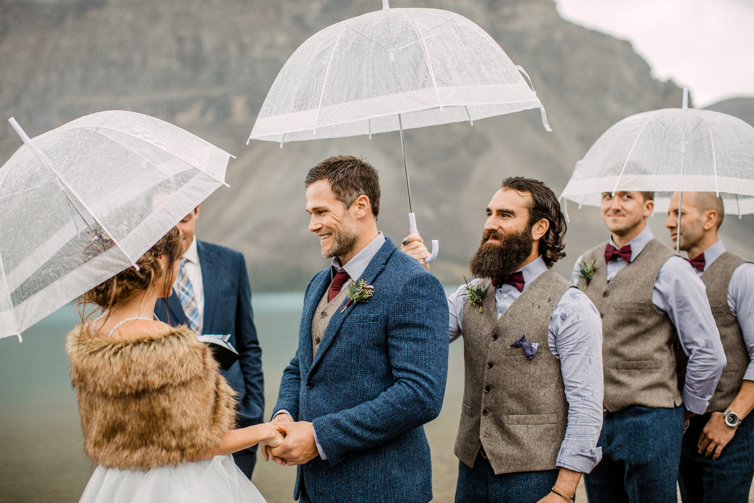 Wedding at Bow Lake in the Rain