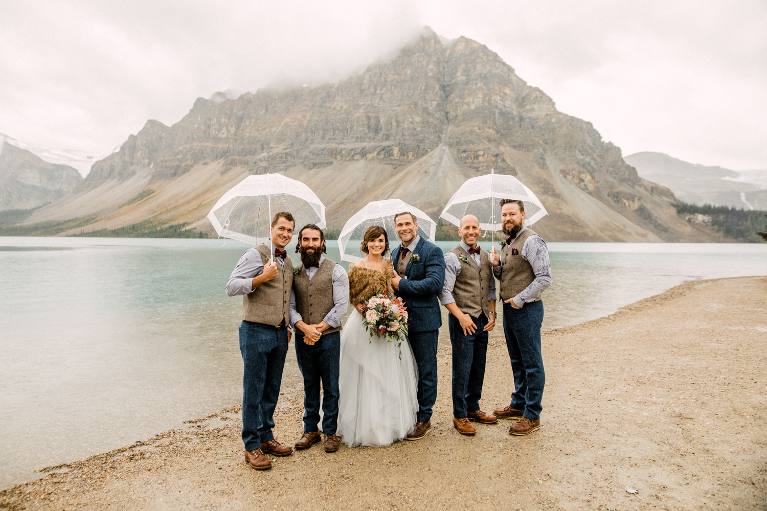 Wedding Party Photos in the Rain