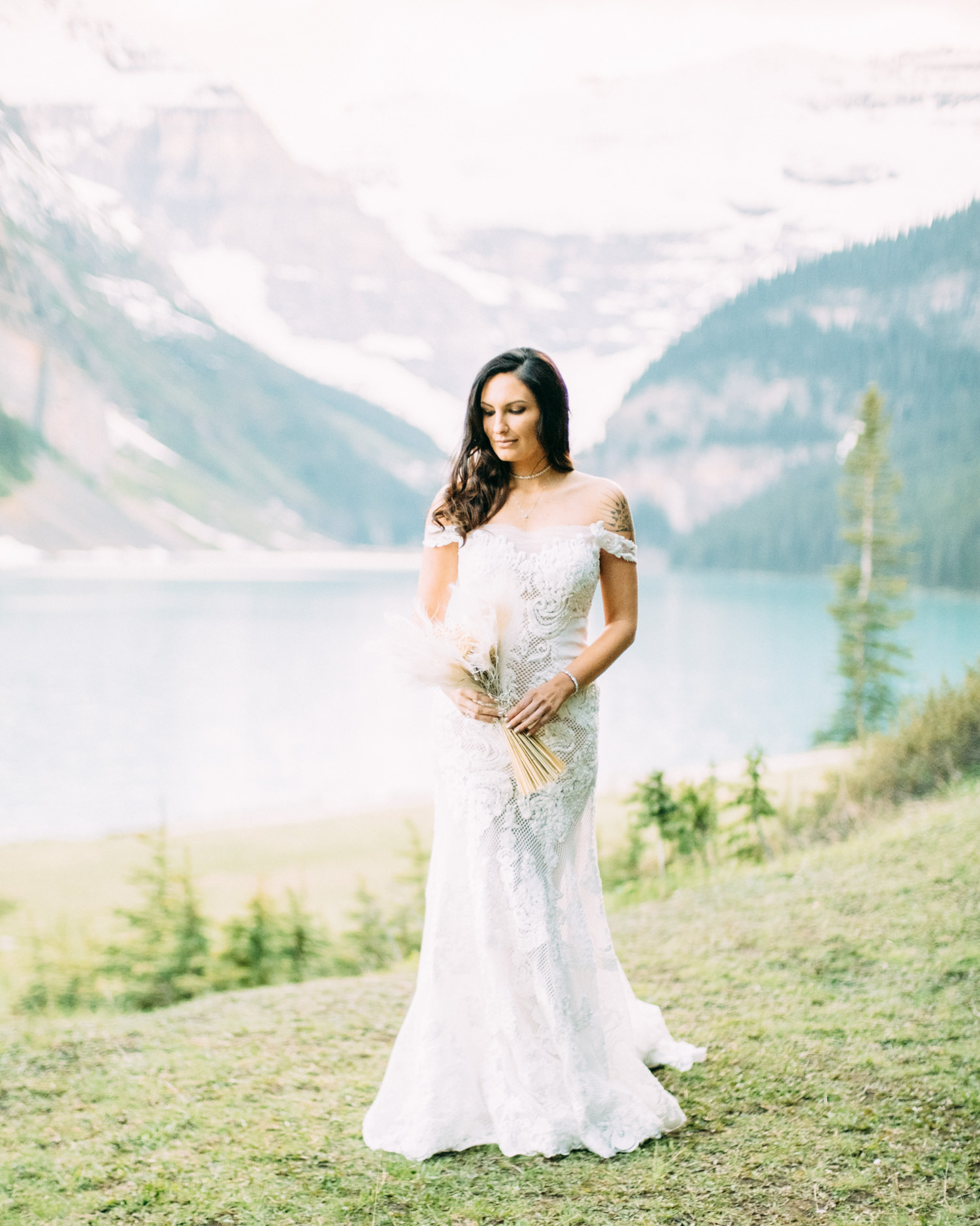 Bride at Lake Louise sunset
