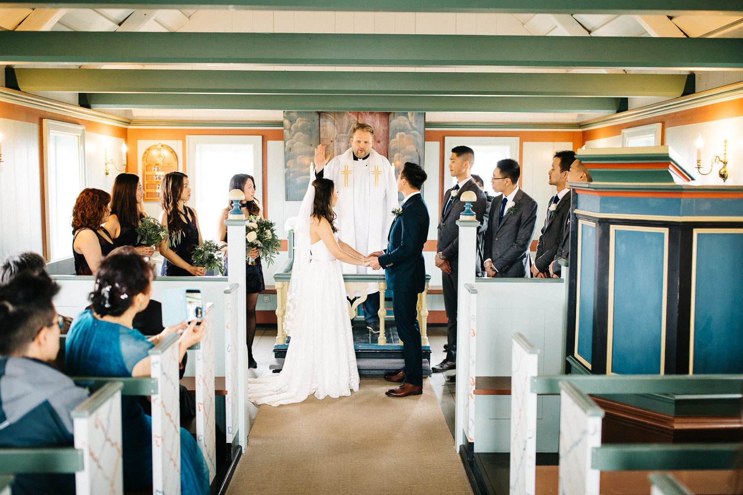 Wedding Buoakirkja Black Church Inside