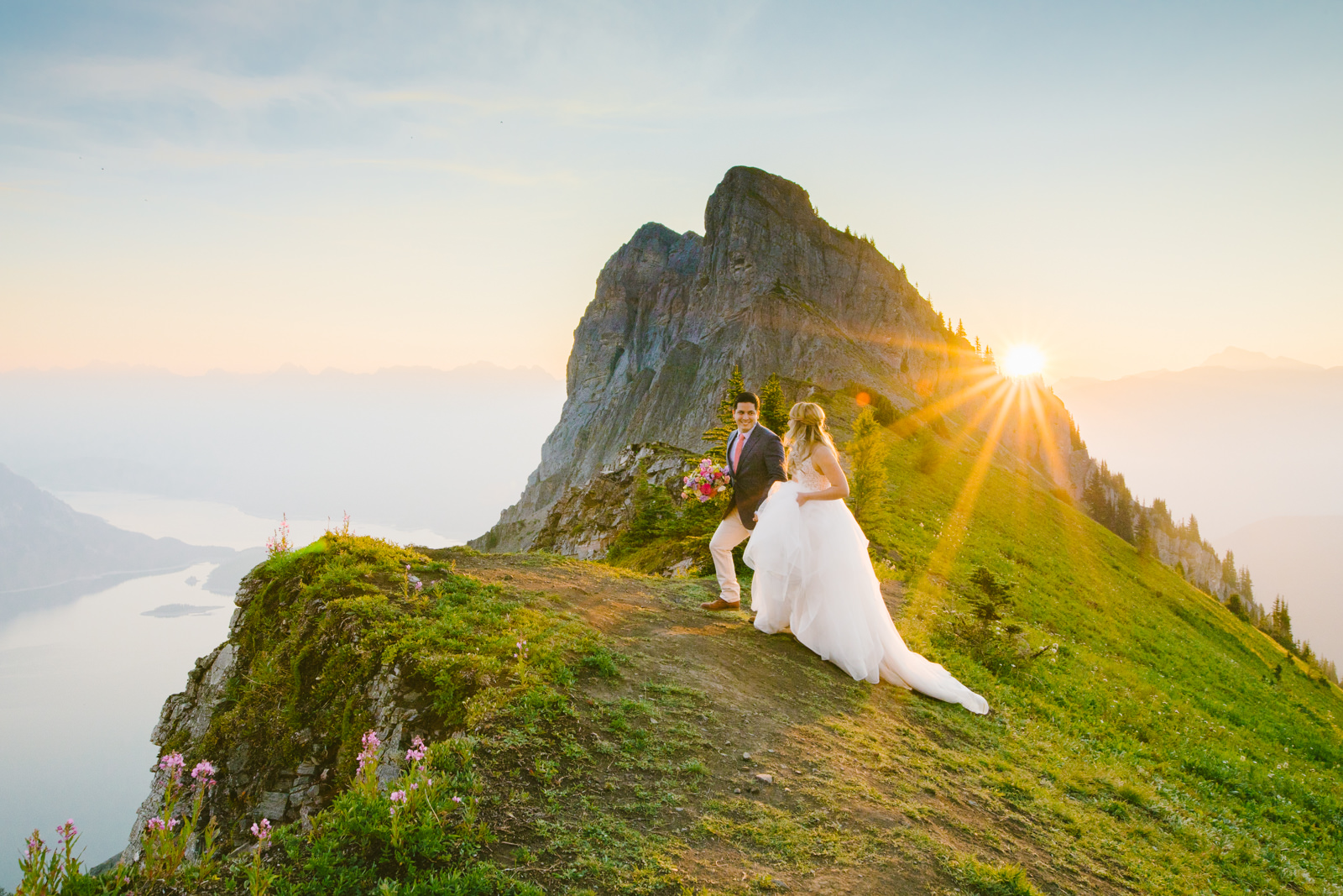 Sunrise Elopement at the top of a mountain in Canada